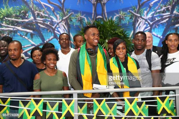Elaine Thompson and Julian Forte and the Jamaican 2018 Commonwealth Games team arrive at the Gold Coast Airport on March 20, 2018 in Gold Coast,...