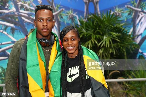Elaine Thompson and Julian Forte of the Jamaican 2018 Commonwealth Games team arrive at the Gold Coast Airport on March 20, 2018 in Gold Coast,...