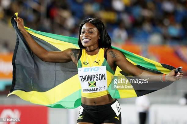 Elaine Thompson of Jamaica celebrates after the Women's 4 x 200 Meters Final during the IAAF/BTC World Relays Bahamas 2017 at Thomas Robinson Stadium...
