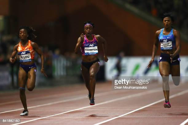 Elaine Thompson of Jamaica competes and wins the womens 100m Final during the AG Memorial Van Damme Brussels as part of the IAAF Diamond League 2017...
