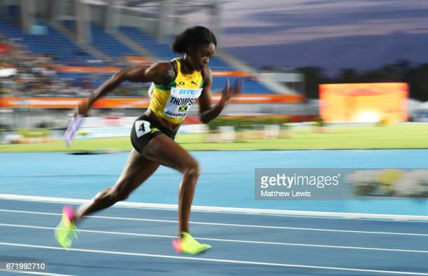 Elaine Thompson of Jamaica competes in heat two of the Women's 4 x 200 Meters Relay during the IAAF/BTC World Relays Bahamas 2017 at Thomas Robinson...