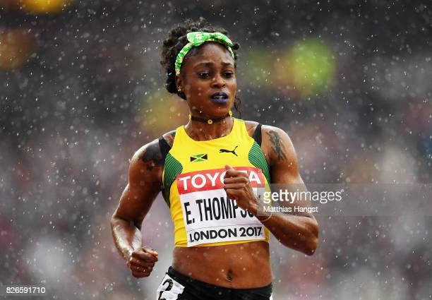 Elaine Thompson of Jamaica competes in the Women's 100 metres heats during day two of the 16th IAAF World Athletics Championships London 2017 at The...