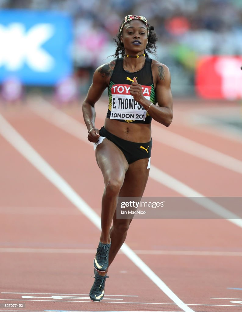 Elaine Thompson of Jamaica competes in the Women's 100m Semi final during day three of the 16th IAAF World Athletics Championships London 2017 at The London Stadium on August 6, 2017 in London, United Kingdom.