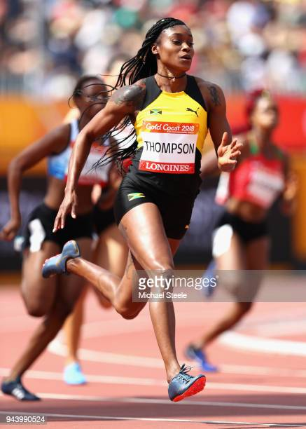 Elaine Thompson of Jamaica competes in the Women's 200 metres heats during the Athletics on day six of the Gold Coast 2018 Commonwealth Games at...