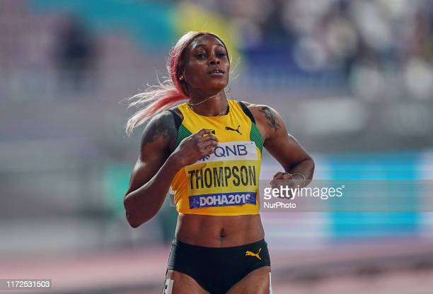 Elaine Thompson of Jamaica competing in the 200 meter for women during the 17th IAAF World Athletics Championships at the Khalifa Stadium in Doha,...