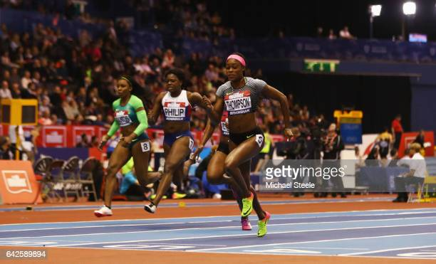 Elaine Thompson of Jamaica crosses the line to win the Women's 60 metres final during the Muller Indoor Grand Prix 2017 at Barclaycard Arena on...
