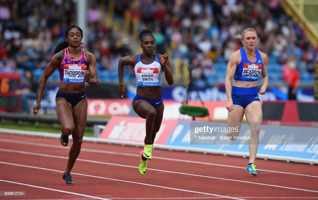 Elaine Thompson of Jamaica, Dina Asher-Smith of Great Britain and Sally Pearson of Australia compete in the Womens 100m heat 1 during the Muller Grand Prix and IAAF Diamond League event at Alexander Stadium on August 20, 2017 in Birmingham, England.