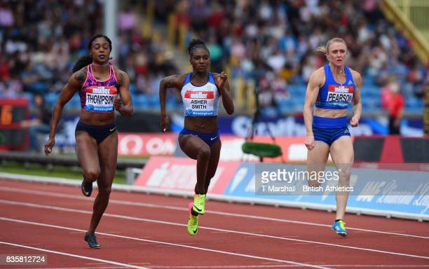 Elaine Thompson of Jamaica Dina AsherSmith of Great Britain and Sally Pearson of Australia compete in the Womens 100m heat 1 during the Muller Grand...