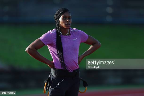 Elaine Thompson of Jamaica during a training session ahead of the 2018 Commonwealth Games at Runaway Bay Sports Centre on March 23 2018 in Gold Coast...
