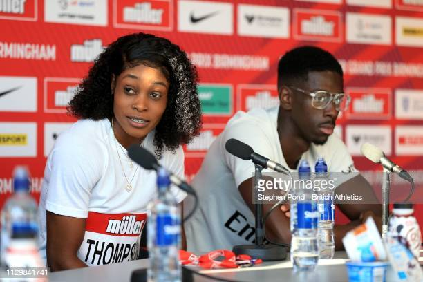 Elaine Thompson of Jamaica talks during a press conference ahead of the Muller Indoor Grand Prix at Arena Birmingham on February 15 2019 in...