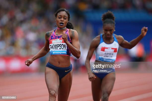 Elaine Thompson of Jamaica wins the Women's 100m race during the Muller Grand Prix Birmingham meeting at Alexander Stadium on August 20, 2017 in...