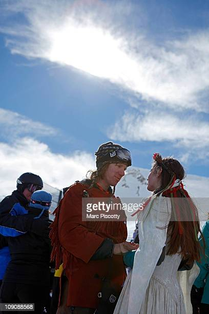 Elaine Vardamis of Nederland Co and her husband Dan Vardamis renew their vows at Loveland Ski Area in Colorado at the 20th Annual Marry Me Ski Free...