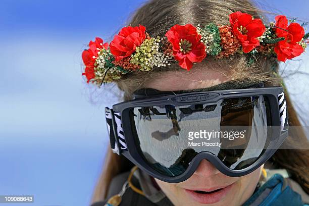 Elaine Vardamis of Nederland Co wears a floral wreath after a ceremony atop Loveland Ski Area at the 20th Annual Marry Me Ski Free Mountaintop...