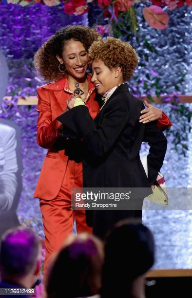 Elaine Welteroth and Amandla Stenberg speak onstage during the 2019 Essence Black Women in Hollywood Awards Luncheon at Regent Beverly Wilshire Hotel...