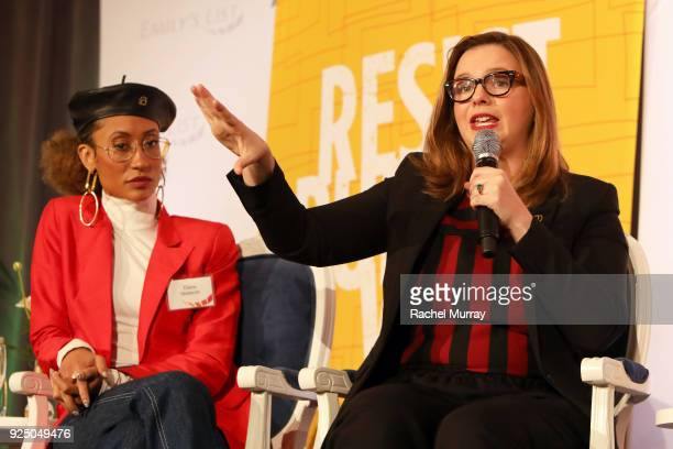 Elaine Welteroth and Amber Tamblyn speak onstage at EMILY's List's Resist Run Win PreOscars Brunch on February 27 2018 in Los Angeles California