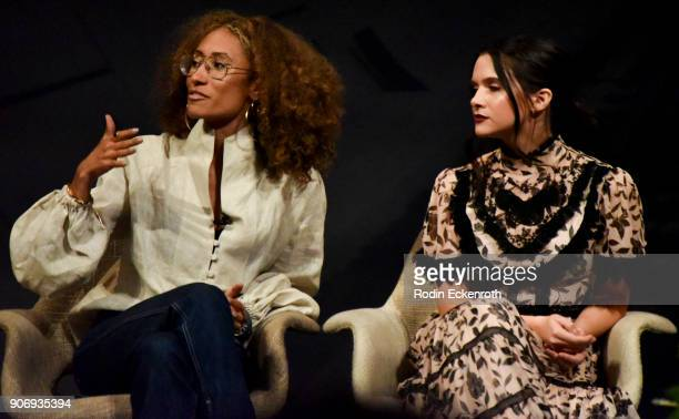 Elaine Welteroth and Katie Stevens speak on stage at Freeform Summit on January 18 2018 in Hollywood California