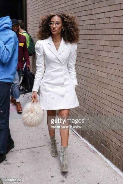Elaine Welteroth is seen wearing a white Maggie Marilyn dress on the street during New York Fashion Week on September 8 2018 in New York City