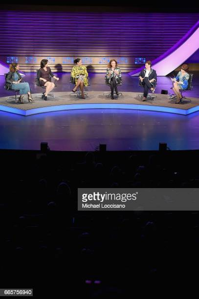 Elaine Welteroth Jenannine Sargent Tracee Ellis Ross Diane von Furstenberg Jo Ann Jenkins and Kathy Lette speak during the Eighth Annual Women In The...