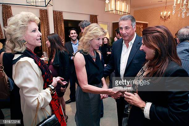 Elaine Wynn Kevyn Wynn CEO of Scalamandre Louis Renzo and Interior Designer Kathryn Ireland talk at the Scalamandre Cocktail Party in Honor Of Elaine...