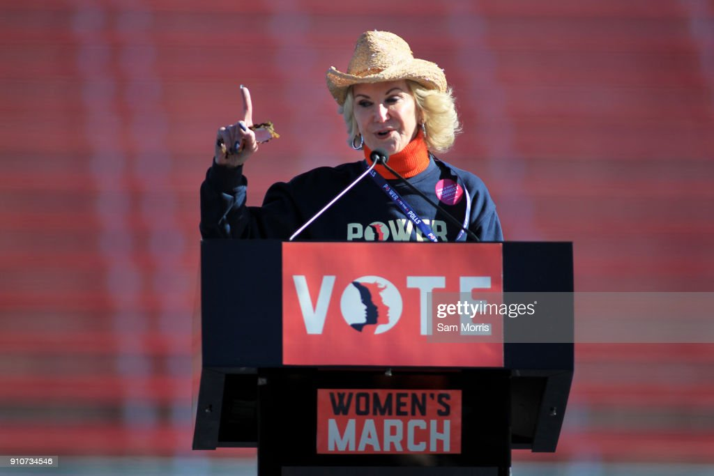 Elaine Wynn speaks during the Women's March 'Power to the Polls' voter registration tour launch at Sam Boyd Stadium on January 21, 2018, in Las Vegas, Nevada. Demonstrators across the nation gathered over the weekend, one year after the historic Women's March on Washington, D.C., to protest President Donald Trump's administration and to raise awareness for women's issues.