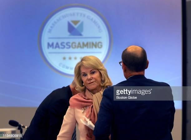 Elaine Wynn the largest single shareholder of Wynn Resorts and exwife of Steve Wynn is pictured during the third day of the Massachusetts Gaming...