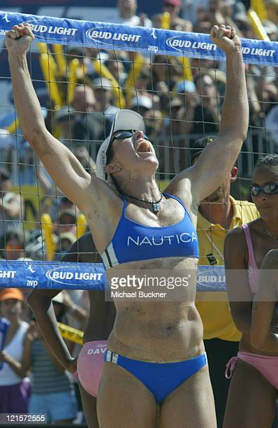 Elaine Young celebrates after winning the championship match of the Manhattan Beach Open against Jenny Johnson Jordan and Annett Davis in Manhattan...