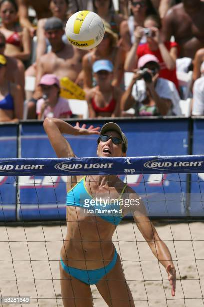 Elaine Youngs hits the ball during the AVP Hermosa Beach Open women final match against Kerri Walsh and Misty May-Treanor at the Hermosa Beach Pier...