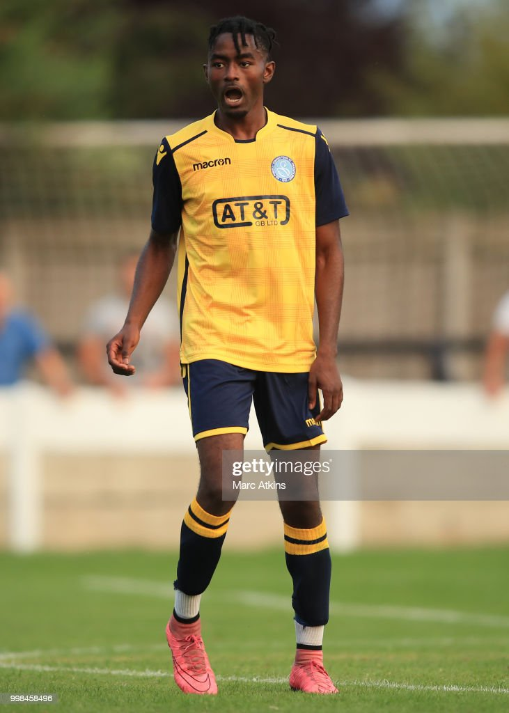 Elan Assiana of Staines Town during the Pre-Season Friendly between Staines Town and Queens Park Rangers at Wheatsheaf Park on July 13, 2018 in Staines, England.