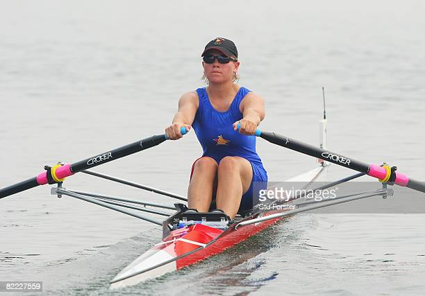 Elana Hill of Zimbabwe competes in the Women's Single Sculls Heat 6 at Shunyi Olympic Rowing-Canoeing Park during Day 1 of the Beijing 2008 Olympic...