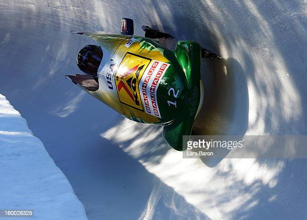 Elana Meyers and Katie Eberling of USA compete during the Women's Bobsleigh heat 1 of the IBSF Bob Skeleton World Championship at Olympia Bob Run on...