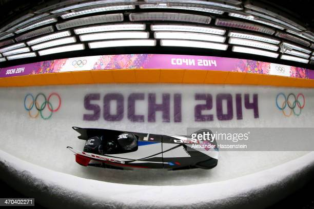 Elana Meyers and Lauryn Williams of the United States team 1 compete during the Women's Bobsleigh on Day 12 of the Sochi 2014 Winter Olympics at...
