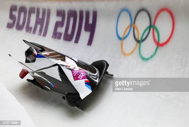 Elana Meyers and Lauryn Williams of the United States team 1 make a run during the Women's Bobsleigh heats on day 11 of the Sochi 2014 Winter...