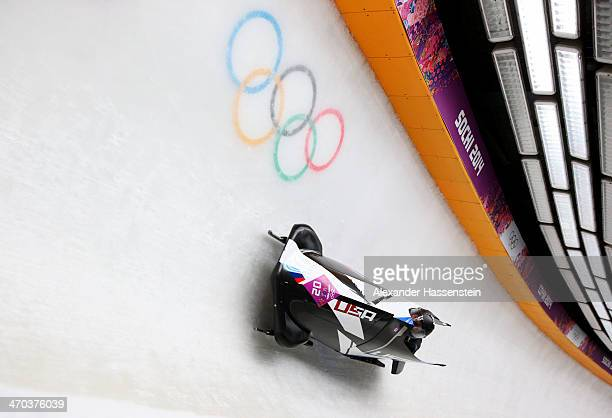 Elana Meyers and Lauryn Williams of the United States team 1 make a run during the Women's Bobsleigh on Day 12 of the Sochi 2014 Winter Olympics at...
