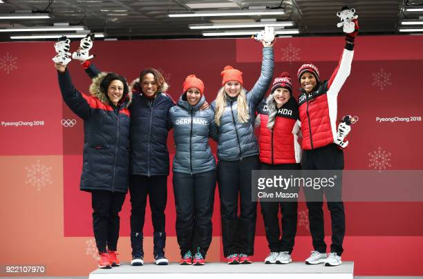 Elana Meyers Taylor and Lauren Gibbs of the United States silver Mariama Jamanka and Lisa Buckwitz of Germany gold and Kaillie Humphries and Phylicia...