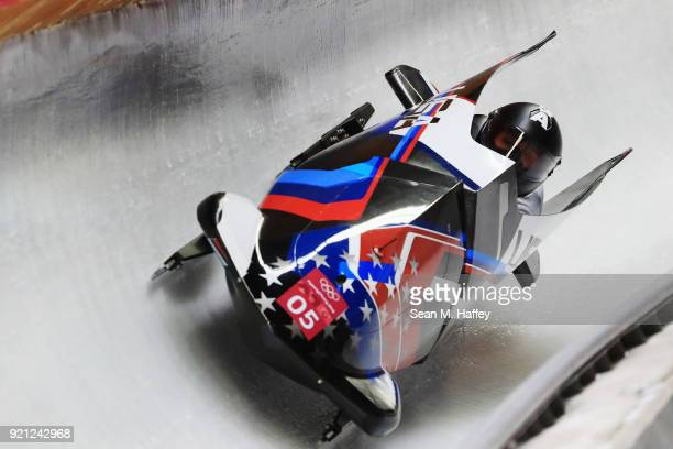 Elana Meyers Taylor and Lauren Gibbs of the United States slide during the Women's Bobsleigh heats at the Olympic Sliding Centre on day eleven of the...
