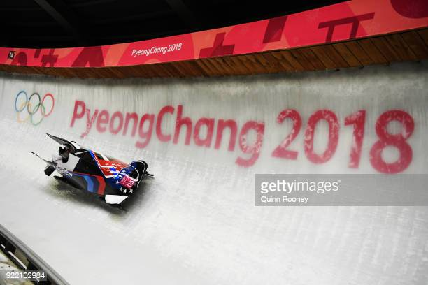Elana Meyers Taylor and Lauren Gibbs of the United States slide during the Women's Bobsleigh heats on day twelve of the PyeongChang 2018 Winter...