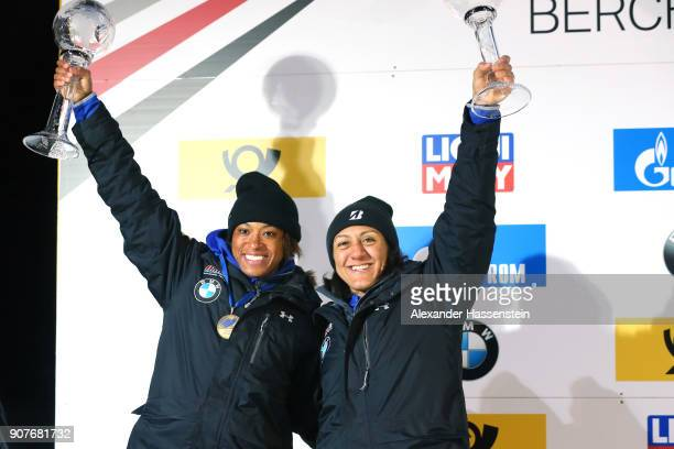 Elana Meyers Taylor and Lauren Gibbs of USA celebrate winning the 2nd place of the World Cup at Deutsche Post Eisarena Koenigssee after the BMW IBSF...