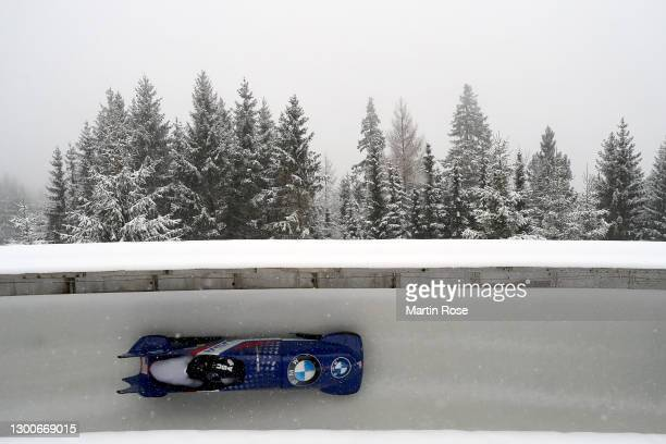 Elana Meyers Taylor and Sylvia Hoffman of the United States compete during the IBSF World Championships 2021 Altenberg 2-Woman Bobsleigh competition...