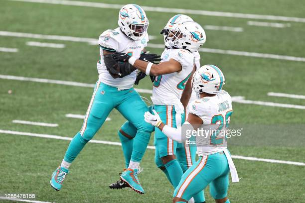 Elandon Roberts of the Miami Dolphins celebrates with teammates after stopping the New York Jets on fourth down during their NFL game at MetLife...