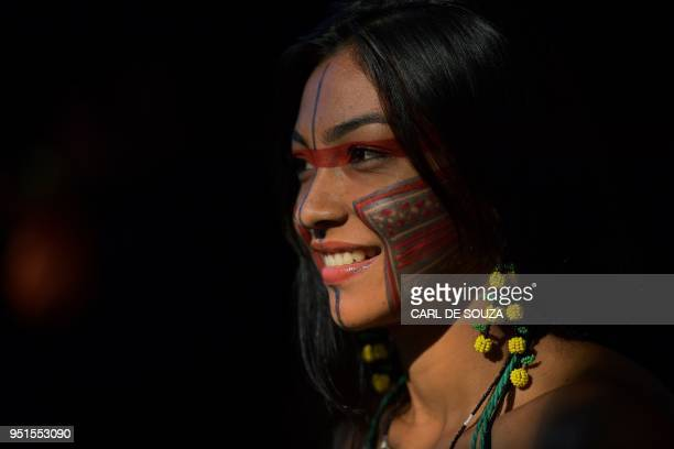 Elane from the Guajajara tribe poses at the Acampamento Terra Livre in Brasilia on April 26 2018 Approximately 2500 indigenous people from different...