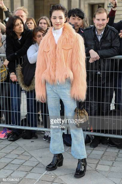 Elane Zhong Chuxi arrives at the Louis Vuitton show as part of the Paris Fashion Week Womenswear Spring/Summer 2018 on October 3 2017 in Paris France