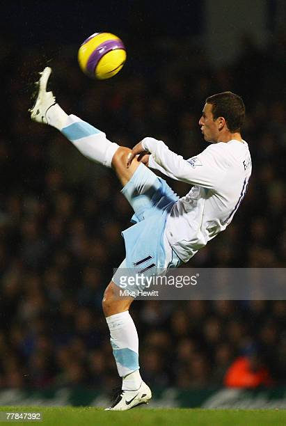 Elano Blumer of Manchester City clears the ball during the Barclays Premier League match between Portsmouth and Manchester City at Fratton Park on...