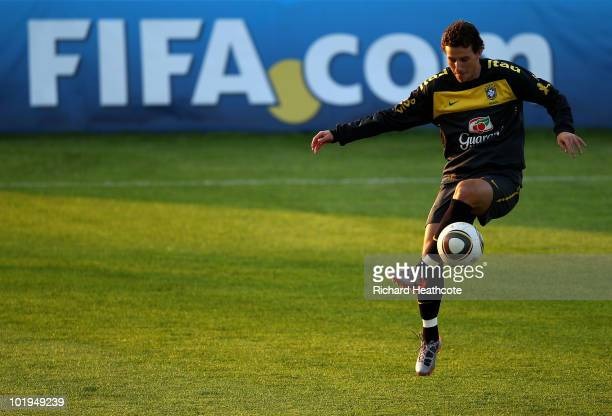 Elano juggles the ball during the Brazil team training session at Randburg School on June 10 2010 in Johannesburg South Africa The Brazil national...