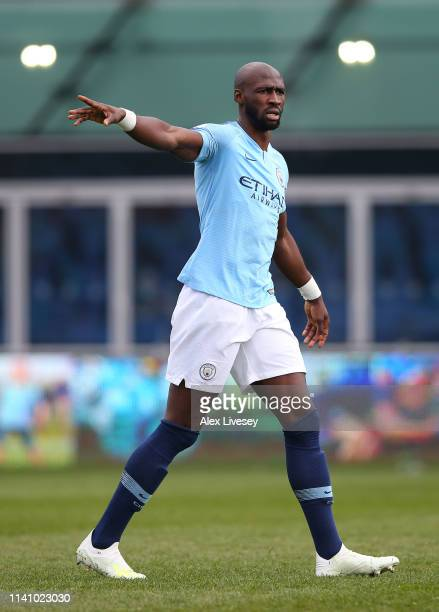 Elaquim Mangala of Manchester City looks on during the Premier League 2 match between Manchester City and Everton at The Academy Stadium on April 07...