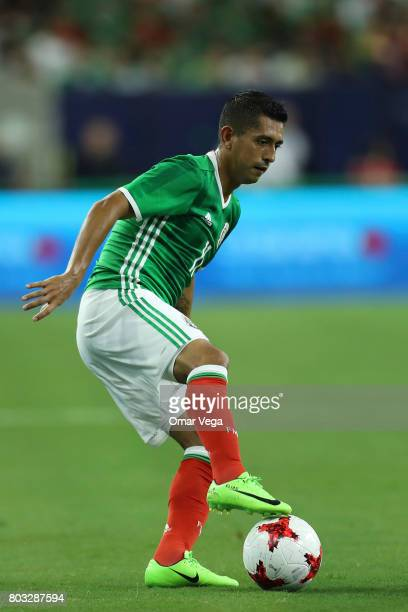 Elías Hernández of Mexico drives the ball during the friendly match between Mexico and Ghana at NRG Stadium on June 28 2017 in Houston Texas