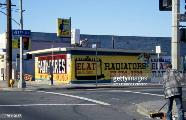 Elat Radiators on Central Avenue in Los Angeles, California has a yellow facade and big, bold signage designed to attract customers, 1999.