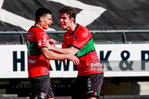 Elayis Tavsan of NEC celebrates scoring the first goal with Cas Odenthal of NEC during the Dutch Keukenkampioendivisie match between NEC and De...