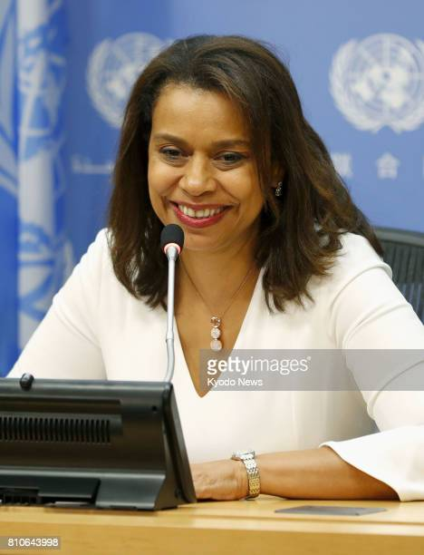 Elayne Whyte Gomez president of UN talks on a treaty banning nuclear weapons speaks at a press conference at the UN headquarters in New York on July...