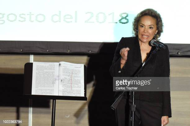 Elba Esther Gordillo speaks during a press conference at Hotel Presidente Intercontinental on August 20 2018 in Mexico City Mexico