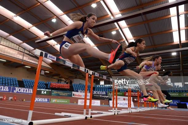 Elba Parmo Garcia of Spain competes in the Women's hurdles Heat 2 during the World Athletics Indoor Tour Madrid 2021
